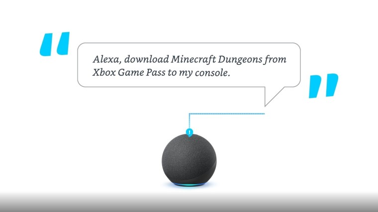 An Amazo Echo Dot with a voice command asking Alexa to download Minecraft from Xbox Game Pass