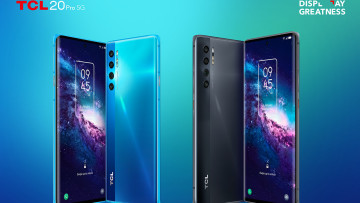 Press image of TCL 20 Pro 5G with green background