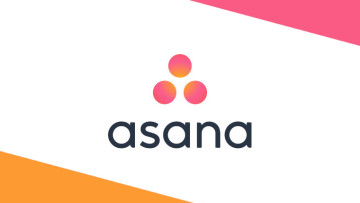 The Asana logo on a yellow white and pink background