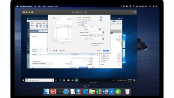A MacBook running Parallels Desktop to emulate a Windows 10 PC running Microsoft Word