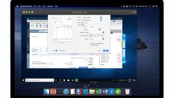 A MacBook running Parallels Desktop to emulate a Windows 10 PC running Microsoft Word