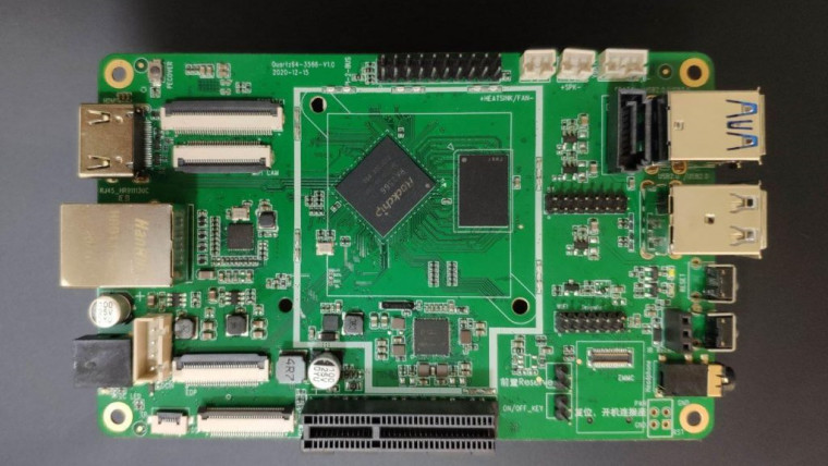 The front side of Quartz64 model-A single board computer