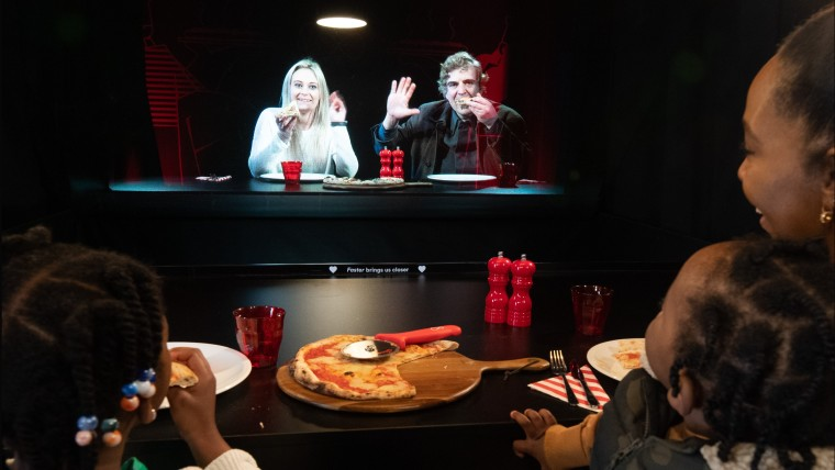 hologram dining experience at two hearts pizzeria by virgin media