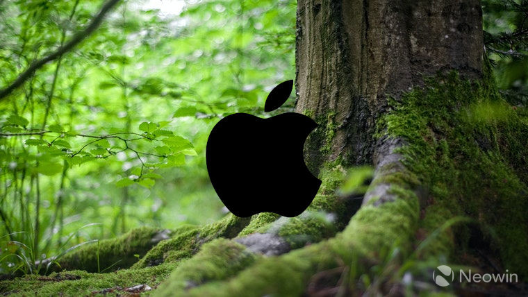 The Apple logo in front of a tree