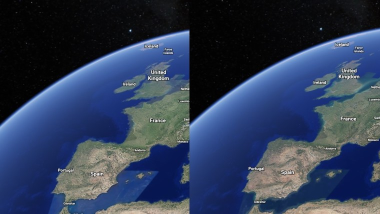 A space view of western Europe in 1984 versus 2020 with drier landscapes in the latter