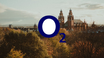The O2 logo with Glasgow in the background