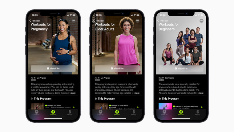 Screenshot of new Apple Fitness workouts
