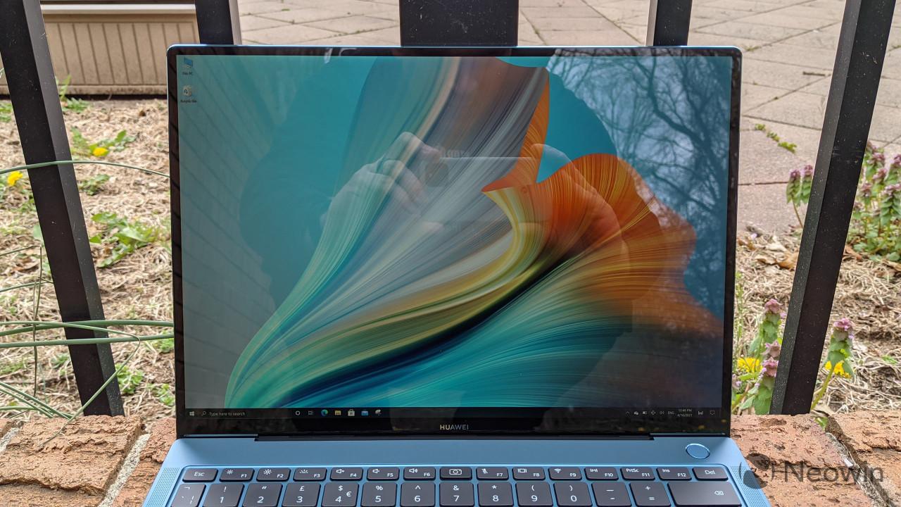 Close-up of MateBook X Pro display