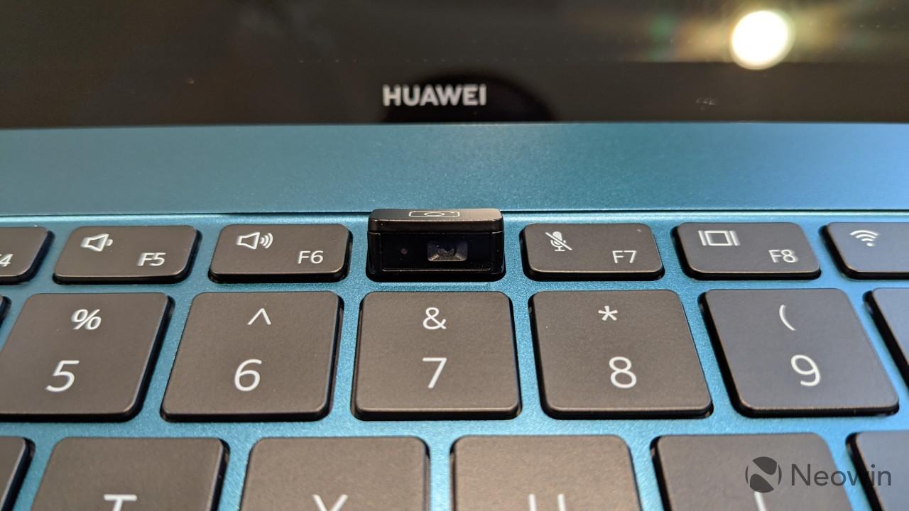 Close-up of MateBook X Pro webcam