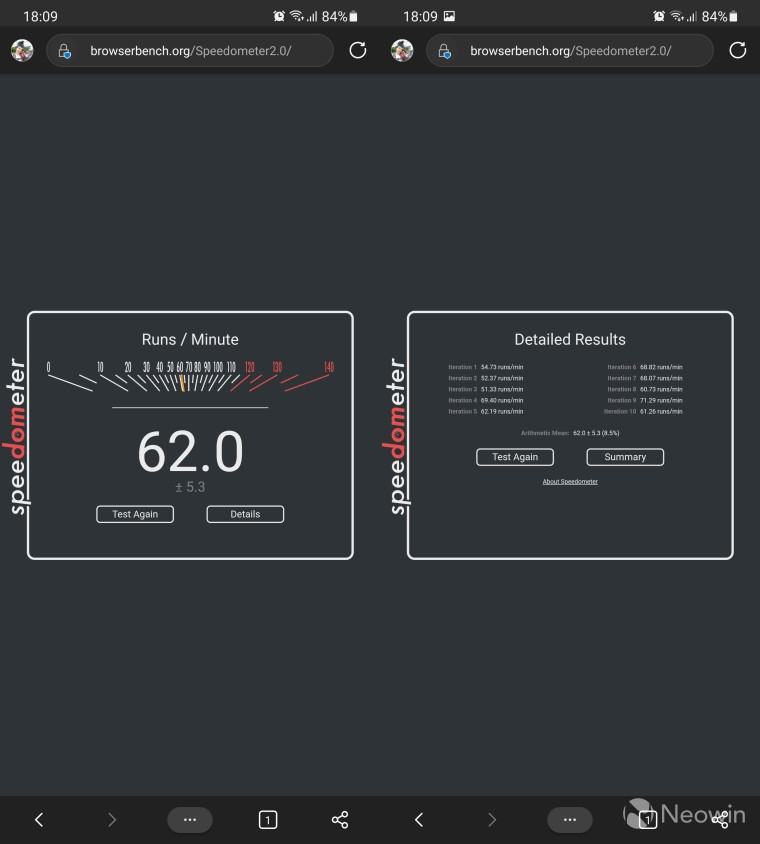 Speedometer benchmark in the stable release of Edge for Android with a score of 62