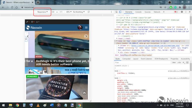 mobile version of neowinnet on google chrome