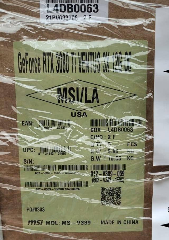 RTX 3080 Ti MSI Ventus cargo shipping