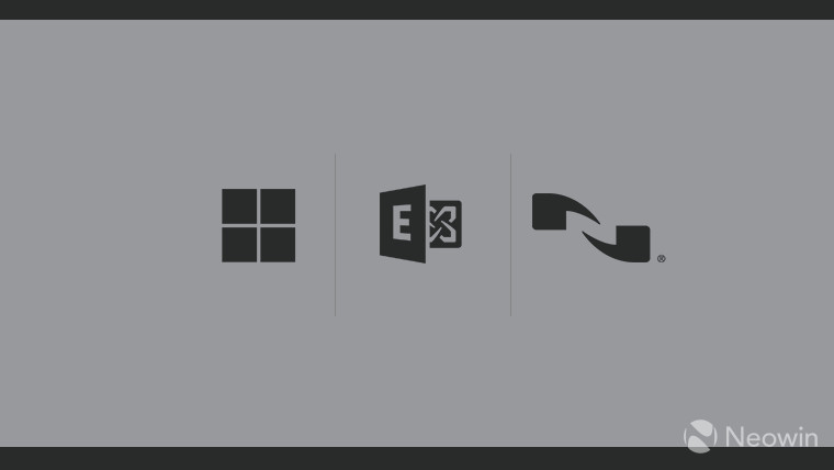 Microsoft Nuance Exchange logos dark grey on silver background