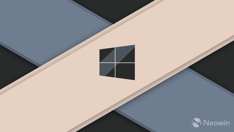 Windows logo dark grey on gold and blue background
