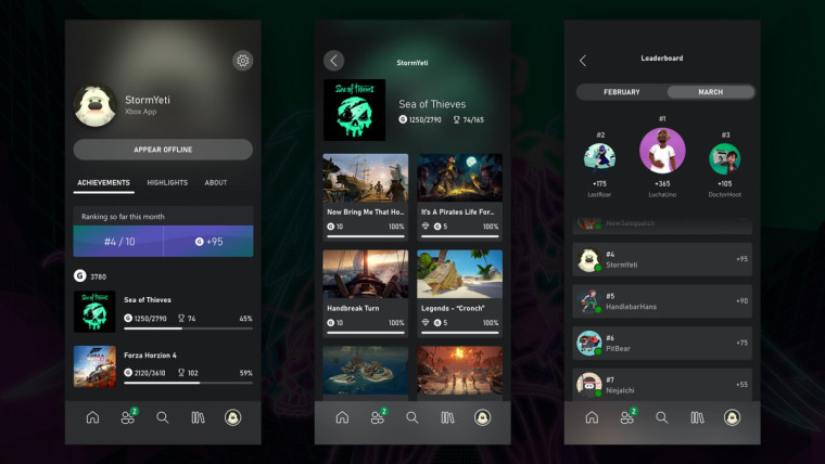 Three screenshots showing achievement listings and leaderboards in the Xbox mobile app