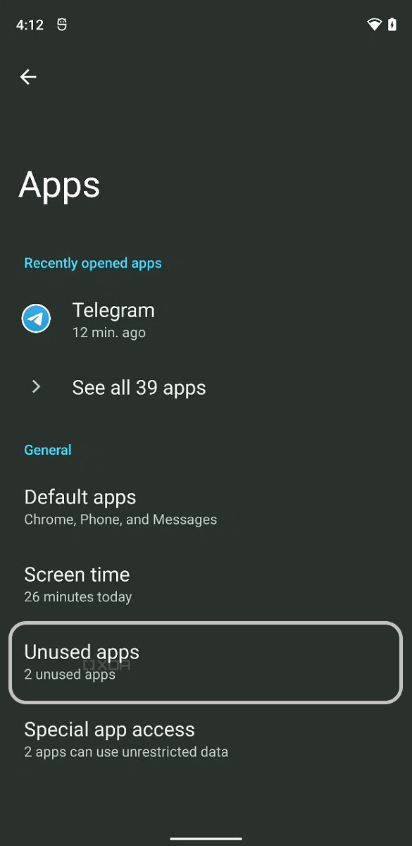 Android 12 Auto hibernation of apps option enable