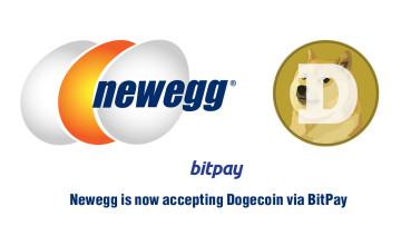Logos of Newegg and Dogecoin which indicate you can pay using that cryptocoin