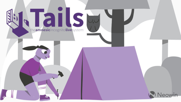 The Tails logo with the Tails camping artwork in the background
