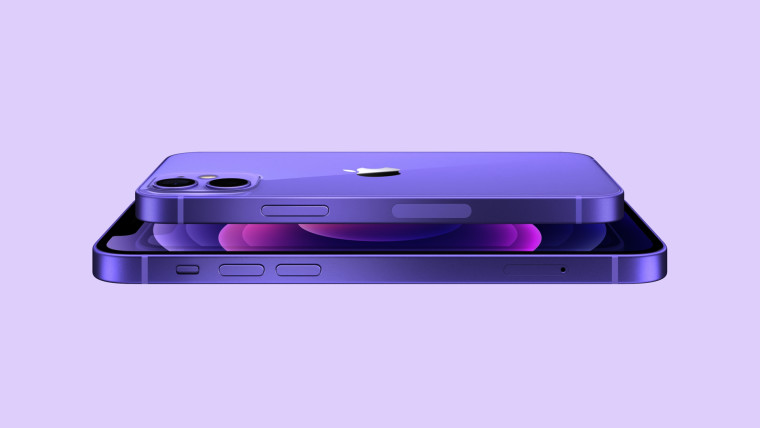 iPhone 12 and iPhone 12 mini in purple