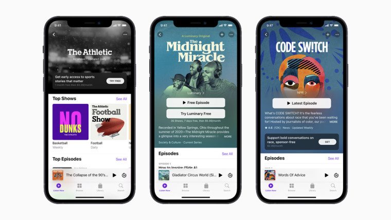 The interface of Apple&039s new Podcasts subscription service showing its partners like The Athletic