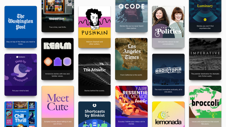 Collage of Apple Podcasts partners including The Washington Post Pushkin Pantsuit Politics and more