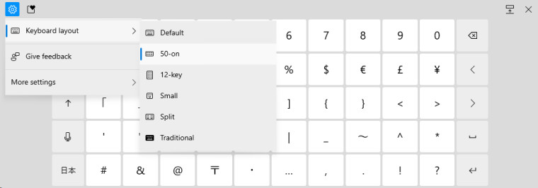 Virtual keyboard settings menu in Windows 10 displaying all layout options for Japanese