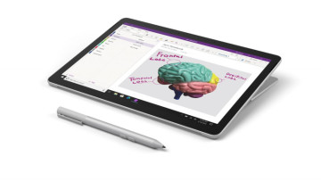 The Microsoft Classroom Pen 2 next to a Surface device