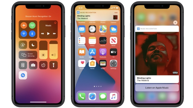 Screenshots depicting the Control Center and notifications in iOS 14