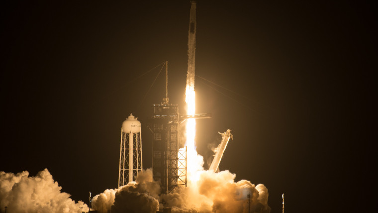 The Falcon 9 taking the Crew-2 Dragon to the ISS