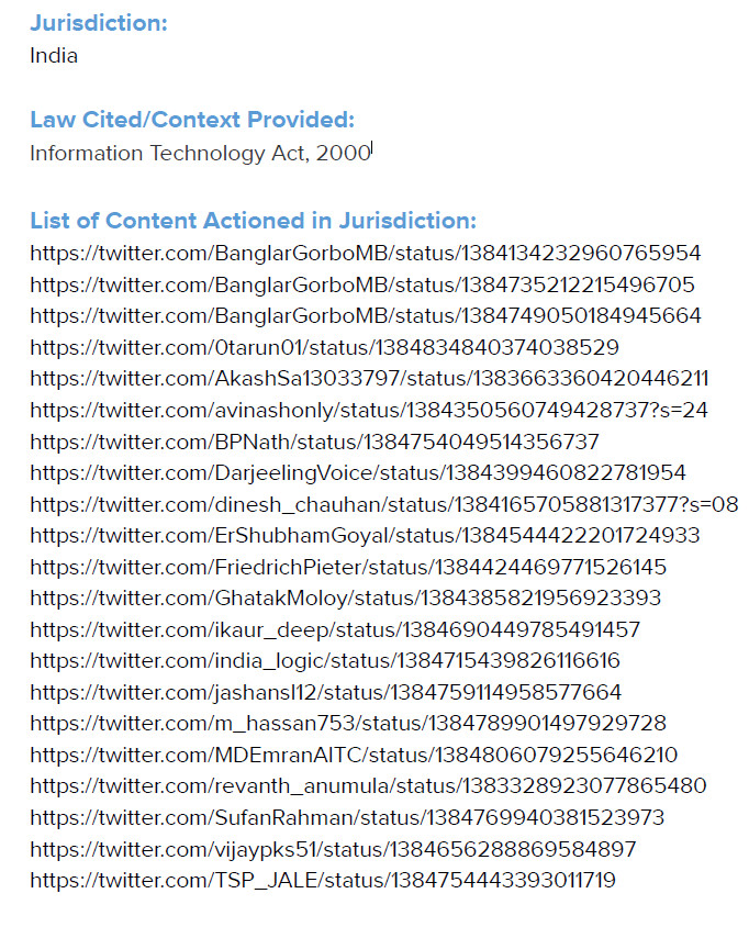 Screenshot of legal notice sent to Twitter