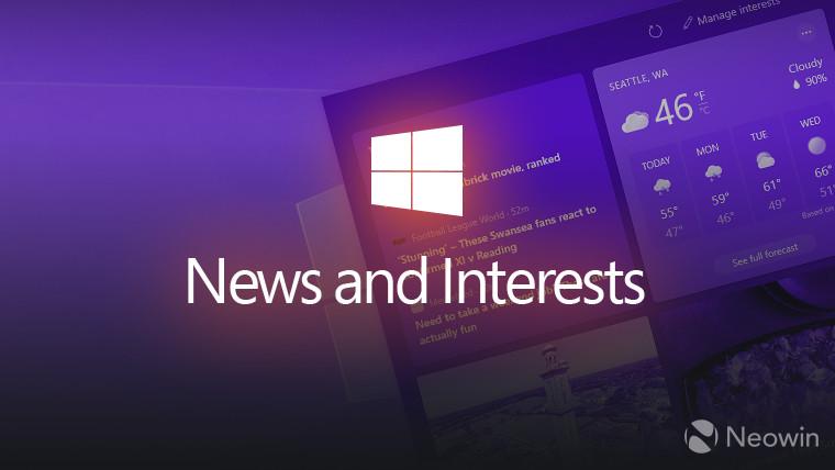 Windows 10 News and Interests widget