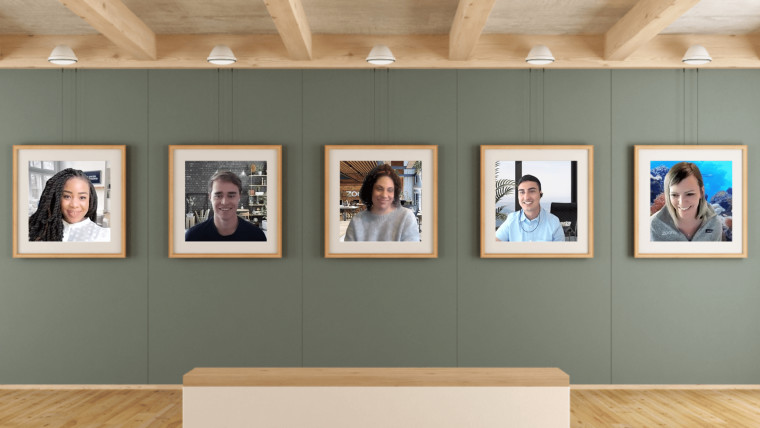 Zoom meeting participants placed in virtual photo frames on a brown wall