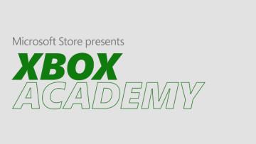 The Xbox Academy logo on a grey background