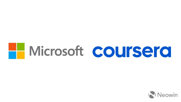 Microsoft logo and Coursera logo side by side