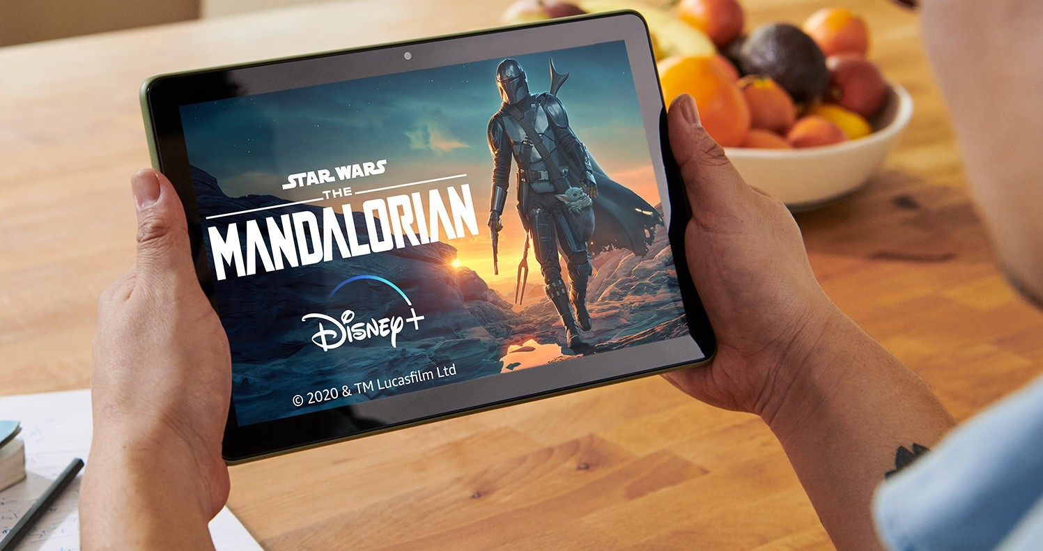Fire HD 10 tablet displaying title and art for The Mandalorian TV show