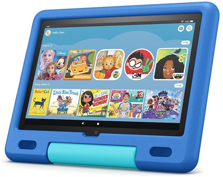 Fire HD 10 Kids Edition with a Sky Blue bumper case