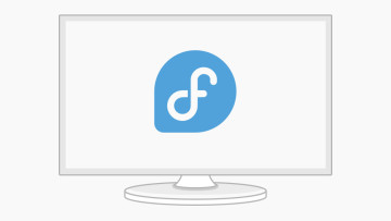 The new Fedora logo on a monitor