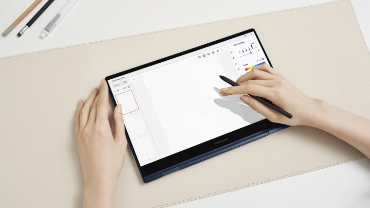 A Samsung Galaxy Book Pro 360 being used with an S Pen