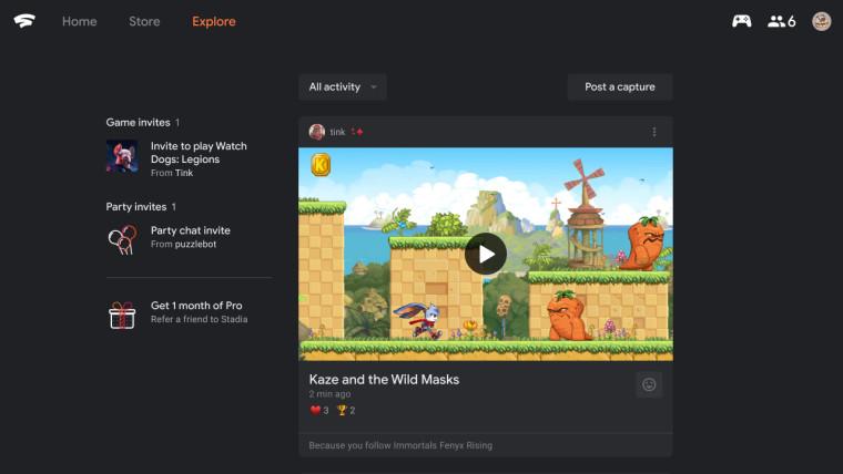 google stadia activity feed screenshot