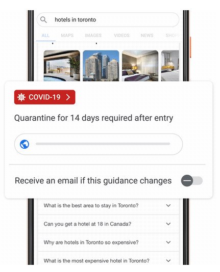 Google&039s COVID-19 travel restriction advisory on a mobile phone