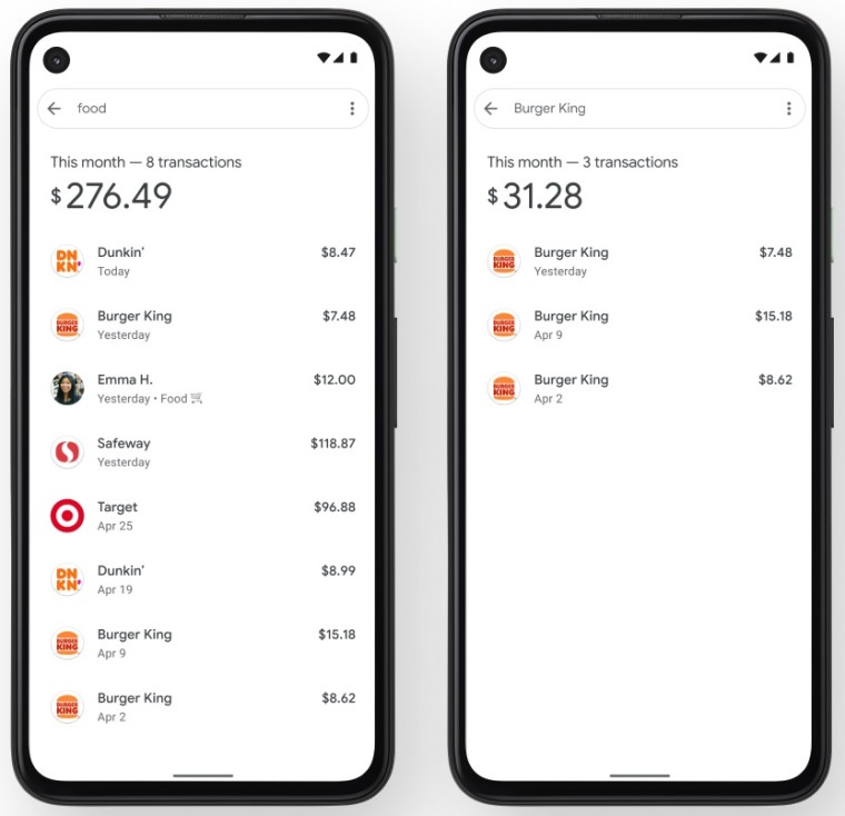 Two screenshots of the Google Pay app showing recent spending for food and Burger King