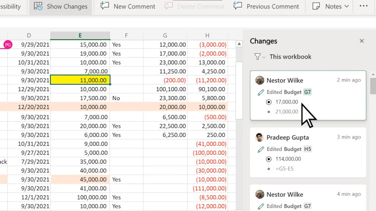 Excel Show Changes feature on an online spreadsheet