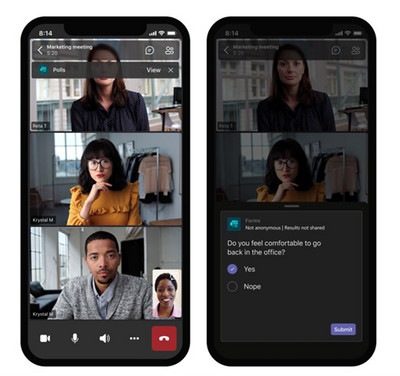 Polls in a Microsoft Teams call on a mobile phone