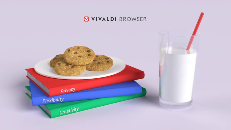 A plate of cookies under the Vivaldi logo