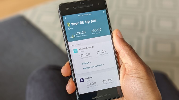 The EE Up wallet on a phone
