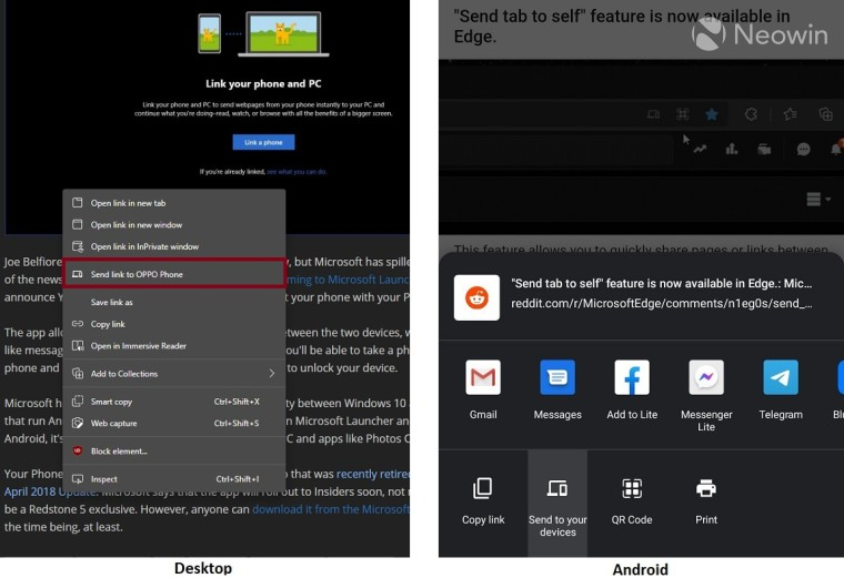 Screenshots showing the option to send links to other devices in Edge Canary