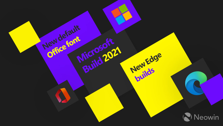 Microsoft Office and Edge logos full color on various coloured backgrounds
