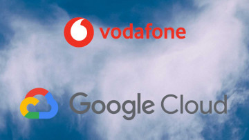 The Vodafone and Google Cloud logos on a cloud background