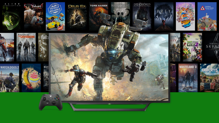 An Xbox Wireless Controller and a TV on top of art for multiple games supporting FPS Boost