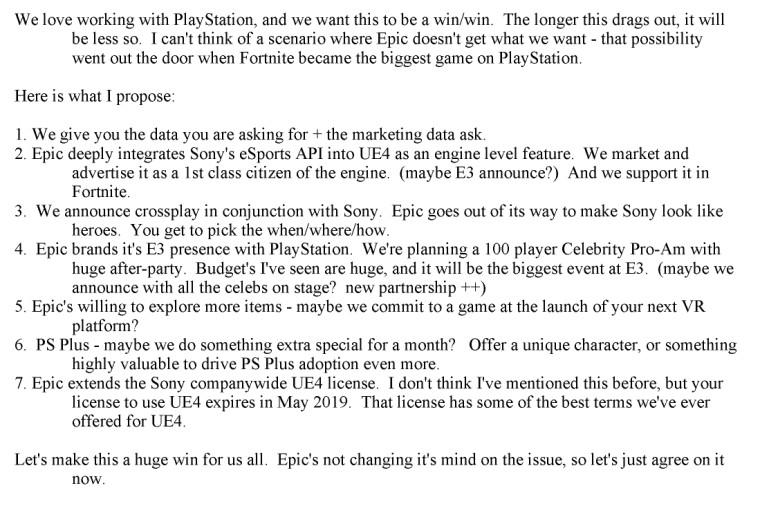 Email exchange between Sony and Epic Games about crossplay